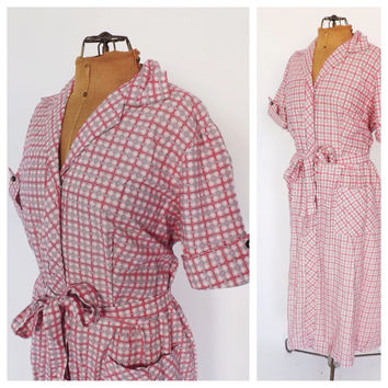 PLUS SIZE NOS Vintage 1950s Frock Dress Pink Checkered Cotton Sundress 1940s House Dress Country Folk Size Large Day Dress Shirt Dress