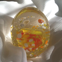 Hand Blown Glass Egg Shaped Paperweight in Bright Spring Colors