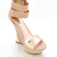 Nude 'Nikki' Double Ankle Strap with Curved Heel Platform Shoes