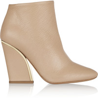 Chloé - Gold-trimmed textured-leather ankle boots