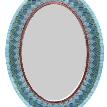 Oval Wall Mirror, Copper Green Gray, Mosaic Mirror