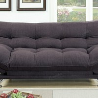 Jasmine collection dark coffee polyfiber fabric upholstered adjustable overstuffed sofa futon