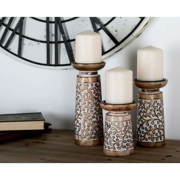Set of 3 Rustic Mango Wood Flourish-Patterned Candle Holders | Overstock.com Shopping - The Best Deals on Candles & Holders