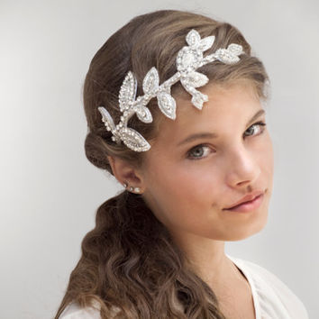 Crystal Bridal Headpiece - Greek Style Wreath - Lady Mira Crystal Leaves Side Tiara