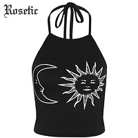 Gothic Tank Tops Halter Sun Crescent Moon Print Black Slim Backless Tops Fashion Beach White Short Goth Tank Tops