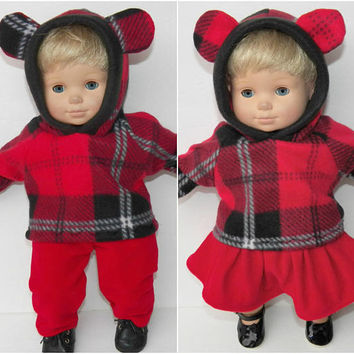 "bitty baby clothes, boy, girl, 15"" twin or both, red velour pants & skirt, christmas, Plaid Hoodies holiday, handmade by adorabledolldesigns"