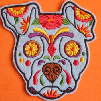 Embroidered  Dog Calavera, Sugar  Skull Applique Patch, Day of the Dead, Dia de los Muertos, Mexico, Mexican, Gothic Skeleton, Biker Patch