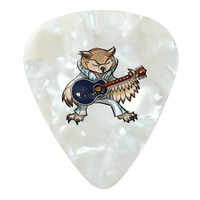 Rock and Roll Guitar Owl in Jumpsuit Cartoon Pearl Celluloid Guitar Pick