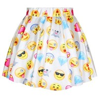 Pink Wind Funny Emoji Smile Face Digital Printed Short Mini Skirt