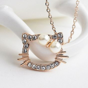 Italina R.A Top Quality  Cute Hello Kitty Pendant Necklace For Girl Children Jewelry Anti-allergy