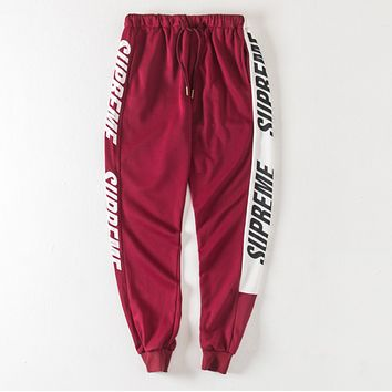 """Supreme"" New Popular Women Men Casual Exercise Sport Pants Trousers Boy Girl Sweatpants Red"
