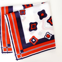 Vintage 1950's Large Square Scarf - Abstract Print Head Scarf - Pocket Scarf
