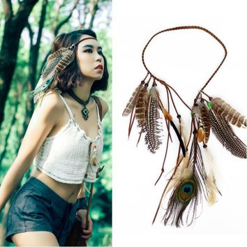 Native American Hippie Feather Headband