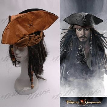 Pirates of the Caribbean Jack Captain Cosplay Hat Wig Beard  Tricorn Buccaneer  Full Set Christmas Halloween Costume Accessories
