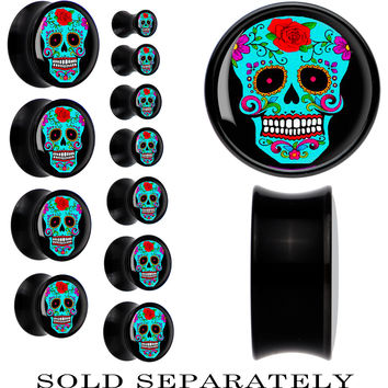 Black Acrylic Blue Sugar Skull Saddle Plug