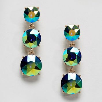 ASOS Iridescent Jewel Drop Earrings at asos.com
