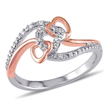 Diamond Accent Triple Intertwined Heart Ring in Sterling Silver with Rose Rhodium Plating