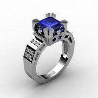 Modern Vintage 14K White Gold 2.0 Carat Princess Blue Sapphire Diamond Solitaire Ring R1023-14KWGDBS