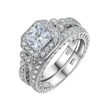 925 Sterling Silver Halo Wedding Ring & Engagement Band 1.2 Ct AAA Princess CZ