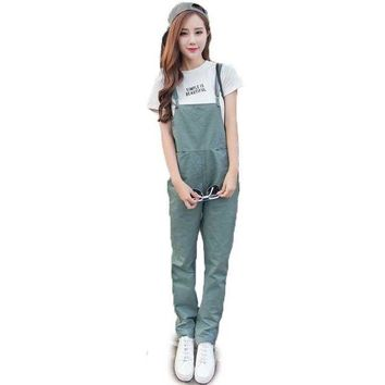 LMFCI7 Women Bib Overall Casual Jumpsuits Suspender Trousers Pants Black Army Green Dungarees