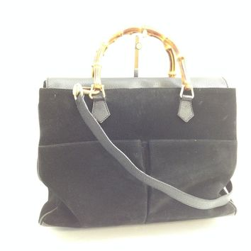 Authentic Gucci Bamboo Shoulder Bag Hand Bag 2 Way Black Suede Vintage 7K291170#