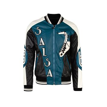 Dolce & Gabbana Mens Blue Musical Patch Leather Bomber Jacket