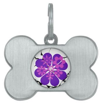 purple and pink flowers pet ID tag