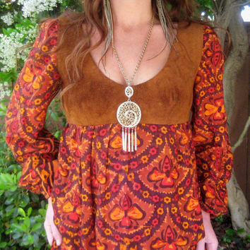 RESERVED FOR CHERYL     -Vintage 60s/ 70s  Woodstock Hippie Maxi Dress