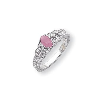 0.088 Ct  14k White Gold 6x4mm Oval Pink Sapphire Diamond Ring I1 Clarity and G/I Color