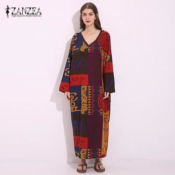 2018 ZANZEA Women Cotton Linen V Neck Long Sleeve Floral Dress Spring Ladies Tunic Baggy Loose Maxi Long Boho Dress Vestido