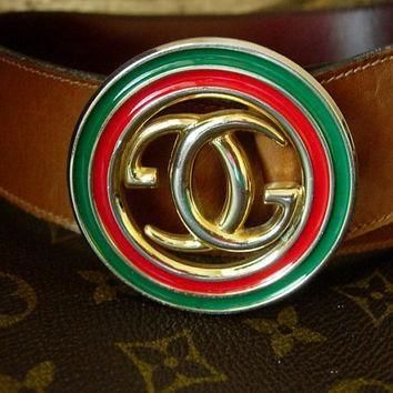 Auth RARE Vintage GUCCI Brown Saddle Leather Belt Red Green Christmas Enamel GG Wardro