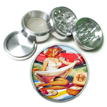 "Vintage Pin Up Girl Sexy Picnic 4 Piece Silver Alumium Grinder 2.5"" Wide Print Garter Stalkings"