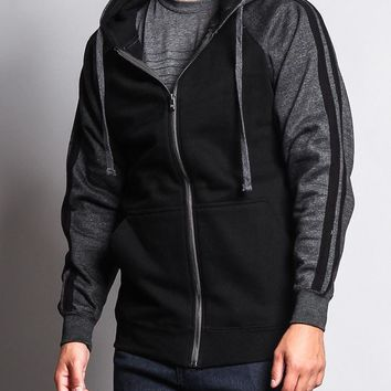 Men's Contrasting Two Striped Zip Up Hoodie 13116