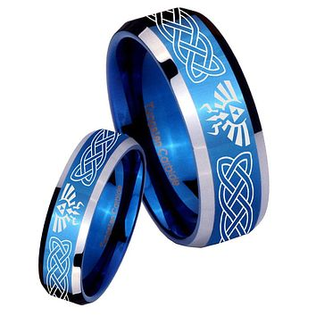 His Her Shiny Blue Bevel Celtic Zelda Two Tone Tungsten Wedding Rings Set