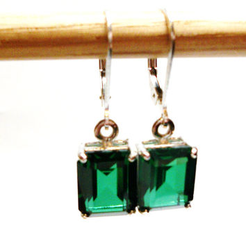 "Topaz earrings, dangle earrings,  lever back earrings, emerald green earrings, topaz dangle earrings,  ""Lost in Space"""