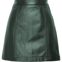Jessica Faulkner Delila Green Leather Skirt