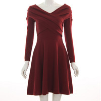 High Quality Classic Knit Long Sleeves Vintage House of Cards Women Politician Party Dress