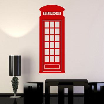 Vinyl Wall Decal Red Telephone Box English United Kingdom UK Stickers Unique Gift (ig3330)