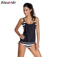 women Stripes swimwear push up Tankini Top maillot de bain bathing suit swimsuit plus size shorts bikinis 41990