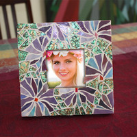 Purple Glass Mosaic Picture Frame, Stained Glass Violet Picture Frame
