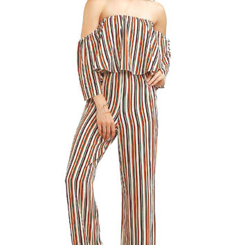 Vintage Vibes Off Shoulder Jumpsuit