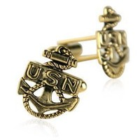 US Navy Anchor Cufflinks Gold With Gift Box