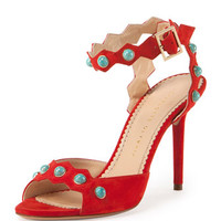 Charlotte Olympia Santa Fe Suede & Turquoise Sandal, Rodeo Red