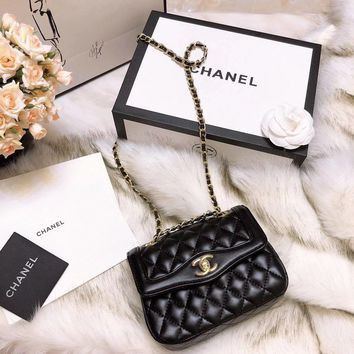 Chanel Women Shopping Leather Metal Chain Crossbody Satchel long paragraph Waist bag