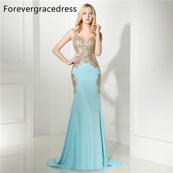 Forevergracedress Mermaid V Neck Prom Dress 2017 Sexy Illusion Sleeveless Applique Long Formal Party Gown Plus Size Custom Made