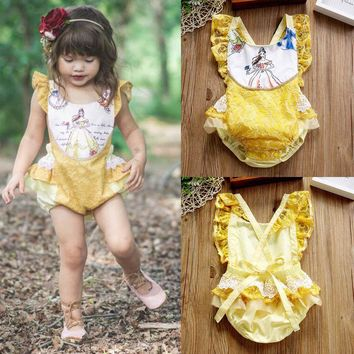 Newborn Baby Girls Beauty and the Beast Romper Bodysuit Jumpsuit Outfts Clothes