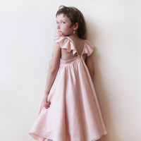 Gold girls butterfly dress, Flower girl satin dress, Girls dress with short sleeves