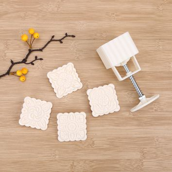 Chinese Style 4 Patterns Square Plastic Homemade Moon Cake Fondant Sugarcraft Decorating Cookies Mould Baking Tool Set