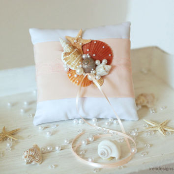 Beach Ring Bearer Pillow. Ring Pillow. Peach Ring Pillow.