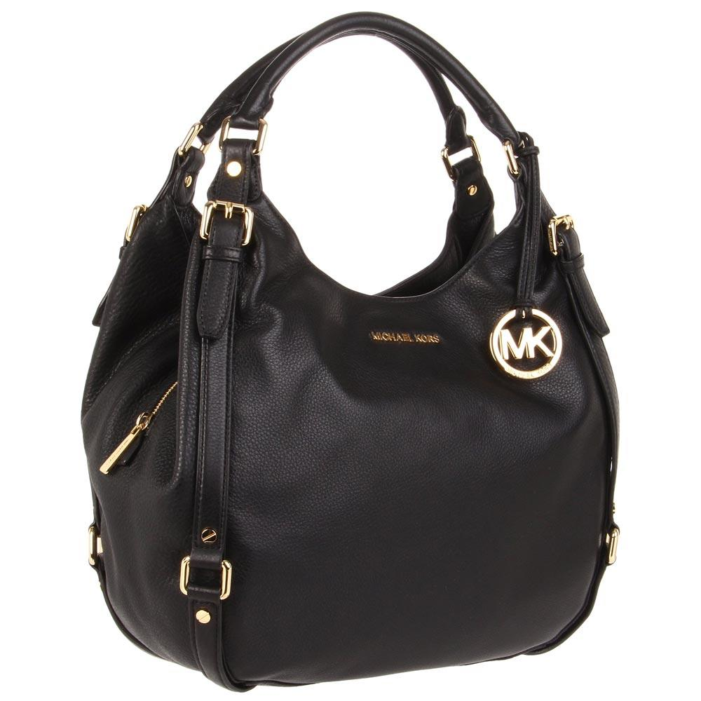 Michael Kors 30H1GBFE3L 001 Women's Bedford Large 2013 Summer Style Black Leather Shoulder Bag